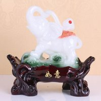 Cheap Exclusive supply! Resin crafts ornaments home feng shui auspicious jade elephant wholesale FF102