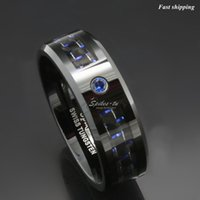 banded onyx - jewelry platinum Black and blue Carbon Fiber Tungsten Ring Blue Mens jewelry Wedding Band