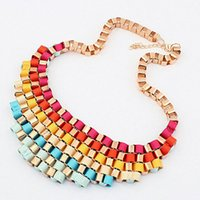 Wholesale NEW Fashion Vintage Gradient Color Braid Chunky Statement Girls Choker Gift Necklace Gradient retro metal exaggerated temperament