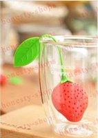 herbal tea bags - Hot Tea Leaf Strainer lovely Silicone Strawberry tea bag ball sticks Loose Herbal Spice Infuser Filter Tea Tools