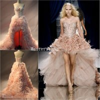 Wholesale 2014 Zuhair Murad Blush Organza Ostrich Feather High Low Celebrity Wedding Evening Dresses Beaded Appliques Lace up Corset Prom Gowns Sale