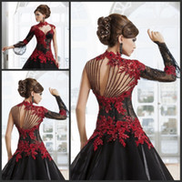 Wholesale 2015 Black And Red Arabic Evening Gowns With Long Sleeves One Shoulder Party Dresses Appliques Beading High Neck Lace Wedding Bridal Gowns