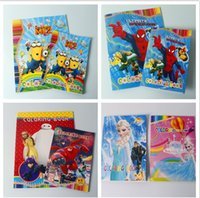 Wholesale minions Children Coloring Book books Cartoon Minion Spiderman Elsa Paint Learning Colouring Notebook Boys Girls Drawing Toys christmas gift