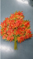 Wholesale 12pcs cm Length red Maple Leaf Tree Leaf Leaves Branch Silk Artificial For Wedding Home Office Decoration