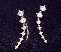 pearl alloy earrings - 1 Pair Silver Gold Plated Stars Element Crystal Pearl Earrings Ear Hook For Women Girl Stud Clip On Screw Back Earrings Jewelry CPA291