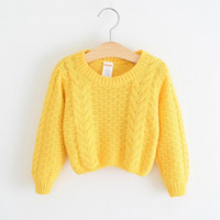 fine clothing - New Korean Kids Clothing New Autumn Children Knitted Sweater Pure Color Hemp Decorative Pattern Fine Knitting Sweater A4280