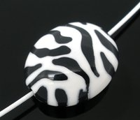Wholesale 20 Oval Zebra Striped Acrylic Spacer Beads mm