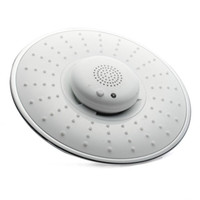 Wholesale 8inch cm White Color ABS Music Round Rainfall Shower Head Bluetooth Wireless Speaker Telephone Receiver Chromed Ceiling Wall Mounted