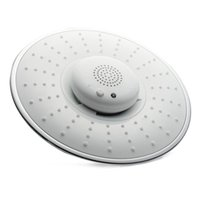 abs ceiling speaker - 8inch mm White Color ABS Music Round Rainfall Shower Head Bluetooth Wireless Speaker Telephone Receiver Chromed Ceiling Wall Mounted