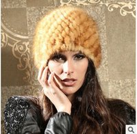 Wholesale European style Topshop fashion Cute golden color new arrival christmas luxurious gift real mink fur knitted for woman