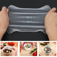 Wholesale 4pcs set transparent silicone food wrap stretch fresh silicone food cover wraps seal cling film Food Fresh Keeping Kitchen Tools new