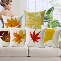 Wholesale 45X45CM Maple Cushion Cover Europe Ikea Autumn Maple Leaves Pillow Case Cojin Decorativo Cotton Linen Pillowcase Pillow Cover