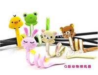 Wholesale Cute Animals Cable Winder Moblie Earphone Bobbin Winder Cable Holder Organizer for MP3 MP4 Retail