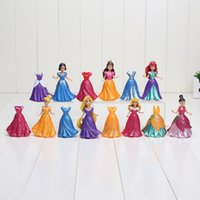 belle clothes - 14Pcs Set cm Princess Snow White Ariel Belle Rapunzel Aurora PVC Action Figures Toys Dolls Dress Clothes Changeable