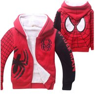 Wholesale 1 Piece Brand New Spider Man Kids Winter Coat Jacket Cartoon Coral Velvet Double Deck Children s Hoodies Sweatshirts color