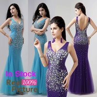 pink mermaid prom dresses - Hot Crystal Backless Mermaid Pageant Prom Dresses V Neck Sexy Beads Sky Blue Purple Pink Real Image Evening Party Gowns In Stock