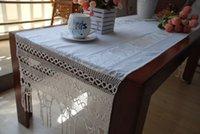 crochet table cloth - Cotton brocade lace mosaic blending dining table cloth crocheted table cloth x210cm