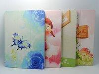 Wholesale ipad air Case Oracle Stand Folio Leather cartoon coloured printing Case Cover For ipad2 ipad mini1