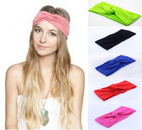 Wholesale 2015 Hot New Colors Women headbands Stretch Twist Headband Turban Sport Yoga Head Wrap Bandana Headwear Hair Accessories
