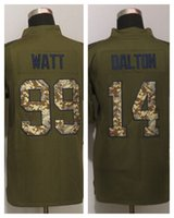 Cheap 2016 New Bengals 18 AJ Green 14 Andy Dalton Green Salute To Service Limited American Football Jerseys Mix Order
