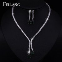Wholesale FEILANG Sparkling Water Drop Dangling Wedding Necklace and Earrings Bridal Dark Blue Sapphire CZ Diamond Jewelry Sets FSSP100