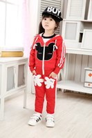Wholesale Spring Male Outfits - Children Sets For 2015 Autumn Kids Clothing Set Baby Cartoon Hooded Outfit Male And Female Coat+Pants Two-piece Suit CD166