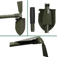 Wholesale 16 quot Survival Camping Folding Shovel hoe Saw Garden Military Survival Tool Case with Snow Spade hoe Saw Compass