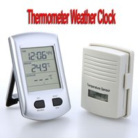 Wholesale Digital Wireless Indoor Outdoor Thermometer Weather Station Clock For Home Garden