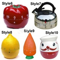 Wholesale 60 Minutes Kitchen Timer Tomato Egg Shape Styles Mechanical Restaurant Kitchen Cooking Ring Alarm Timers Factory Direct Free DHL
