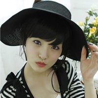 Wholesale 2016 New Fashion Summer Sun Hats Women s Foldable Large Brimmed Beach Hats UV Visor Straw Outdoor Travel Ladies Hats Caps YH0154 smileseller