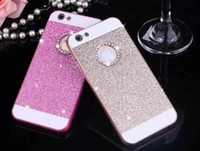 apple case rounds - Glitter Sparkle Bling Diamond Hard PC Case Dual color skin For iphone Plus s G S G S Luxury Round Hole Shiny Skin Cover