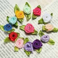 red ribbon rose - 100 Hot Sale Home Decoration Ribbon Rose Wedding DIY Flower Satin Party Decor Bow Appliques Sewing Leaves