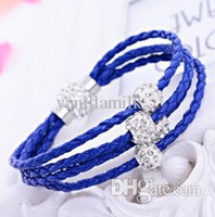 Wholesale TOP quality PU leather Bracelet Handmade Shamballa Bracelet with magnetic clasp Colors Mult
