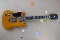 De alta calidad Cuerpo de caoba 6 cuerdas G, SG Doble Corte de guitarra izquierda guitarra SG Pintura transparente amarillo Guitarra eléctrica