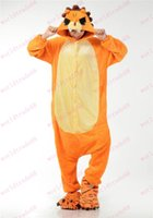 Cheap Lovely Flannel Orange Lion Onesie for Adult Unisex Anime Cartoon Hoodies onesie Cosplay Costumes Sleepware Pyjamas Jumpsuit
