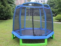 Wholesale 2 meters kid Fitness Toy Trampolines Equipment With Belt Security Fence High Quality Foldable Steel Pipe Trampolin jumping