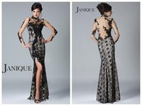 Wholesale 2015 Sexy Black Janique Sheath Mother Of The Bride Dresses Long Sleeve High Neck See Through Back Beaded Applique Sequins Lace Evening Gowns