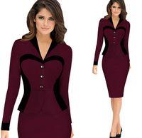 Wholesale 2016 Plus Size Vintage Faux Two Piece Professional Office Dress Thicken Patchwork Bodycon Stretch Sheath Long Sleeve Pencil Dresses