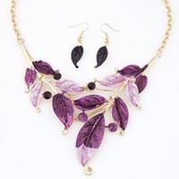 Wholesale 2015 metal minimalist painting foliage bohemian necklace Earring Sets jewelry