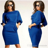 ladies casual wear - Hot Sexy Women Dress New Casual Ladies Summer Dresses Long Dresses Stretch Work Office Clothes Plus Size