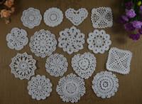 crochet table cloth - S10 S18 Handmade crochet doily table cloth Retro crochet cup mat pad crochet Applique decorate cm