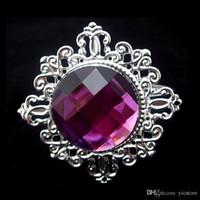 Wholesale High Quality Table Decoration Light Purple Diamond Gem Napkin Rings Serviette Holder Wedding Banquet Dinner