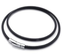Wholesale Black Genuine Leather Cord Mens Necklace Bracelet Rope Chain with Stainless Steel Clasp mm mm