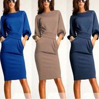 Wholesale Womens Sexy Long Sleeve Stretch Bodycon Clubwear Party OL Office Mini Dress