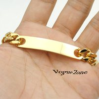Wholesale 18K Gold ID bracelet men L Stainless Steel Chain mens jewellery Gold Filled Punk Rock Music Charms friends arm cuff New BB145
