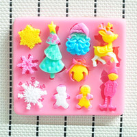 Wholesale Santa Claus and the Christmas tree hower party fondant molds silicone mold soap candle moulds sugar craft tools chocolate moulds