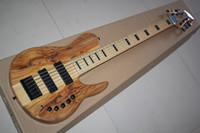 Nature Wood 6 string bass guitar - 2015 New Arrival Top Quality Nature Wood One Piece Maple Neck through the Body V Active Pickup Butterfly String Electric Bass Guitar
