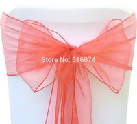 Wholesale Hot sale best quality cm Coral Organza Chair Bow Cover Sashes Home Wedding Decoration