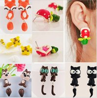 Wholesale New Summer Style Fashion Handmade Polymer Mario Clay Piranha Plant Earring Stud Earrings for Women Oorbellen Bijoux Kinds Of Style