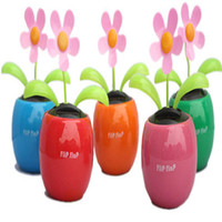 big plastic plant pots - Flip Flap Solar Power Dancing Flower Decor Apple Pot Plant Sunflower for Car Interior Decoration accessories auto Ornaments